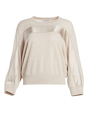 Image of Accented with a banded stripe in a glossy finish, this sweater offers a modern take on a workwear staple. Knit in an ultra-fine luxurious cashmere, its elegant fabrication is offset by the relaxed style of its slouchy oversized fit. Crewneck Long sleeves