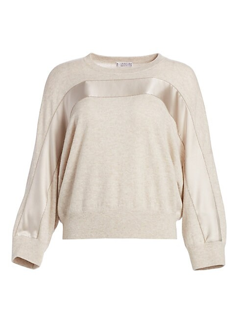 Image of Accented with a banded stripe in a glossy finish, this sweater offers a modern take on a workwear staple. Knit in an ultra-fine luxurious cashmere, its elegant fabrication is offset by the relaxed style of its slouchy oversized fit. Crewneck. Long sleeves
