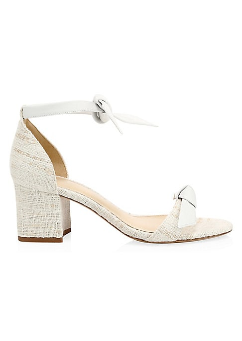 """Image of Chambray denim ankle-strap sandals with a knotted look. Textile/suede upper. Open toe. Tied ankle strap. Leather lining and sole. Imported. SIZE. Self-covered block heel, 2"""" (60mm)."""