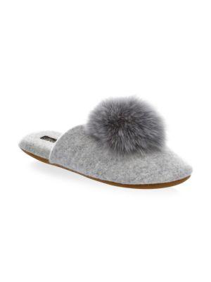 MINNIE ROSE Cashmere & Fox Fur Slippers in Heather Grey