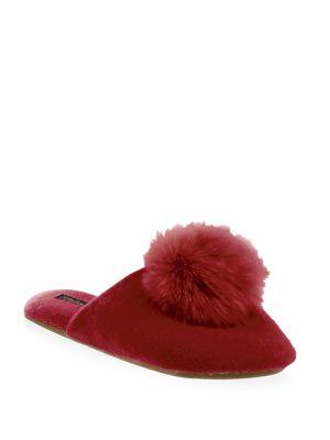 MINNIE ROSE Cashmere & Fox Fur Slippers in Red