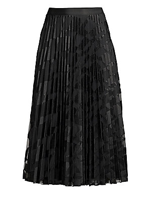 """Image of Airy pleated skirt with subtle wave embroidery. Concealed side zip closure Polyester Dry clean Imported SIZE & FIT About 34"""" long Model shown 5'10"""" (177cm) is wearing a US size 4. Modern Collecti - Boss Black. BOSS. Color: Black Fantasy. Size: 0."""