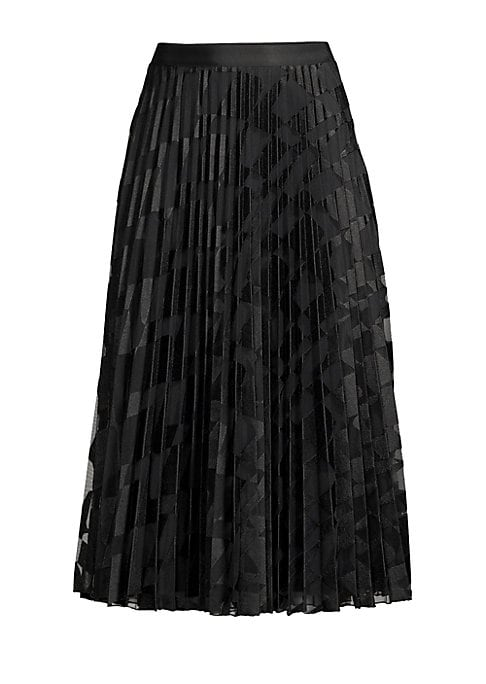 "Image of Airy pleated skirt with subtle wave embroidery. Concealed side zip closure. Polyester. Dry clean. Imported. SIZE & FIT. About 34"" long. Model shown 5'10"" (177cm) is wearing a US size 4."