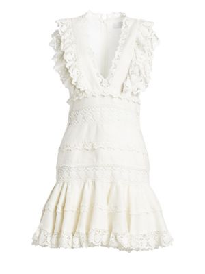 Wayfarer Linen Lace Dress by Zimmermann
