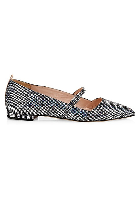 Image of Iridescent embellishments adorn these point toe flats, making them statement footwear. Synthetic upper. Point toe. Adjustable buckle closure. Leather lining and sole. Made in Italy.