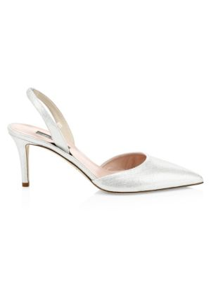 SJP BY SARAH JESSICA PARKER Bliss Metallic Leather Slingbacks in Silver