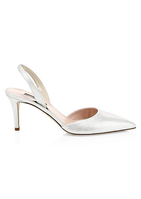 """Image of Elegant slingbacks updated in chic metallic leather. Leather upper. Point toe. Elasticized slingback strap. Leather lining and sole. Spot clean. Made in Italy. SIZE. Self-covered heel, 2.75"""" (70mm)."""