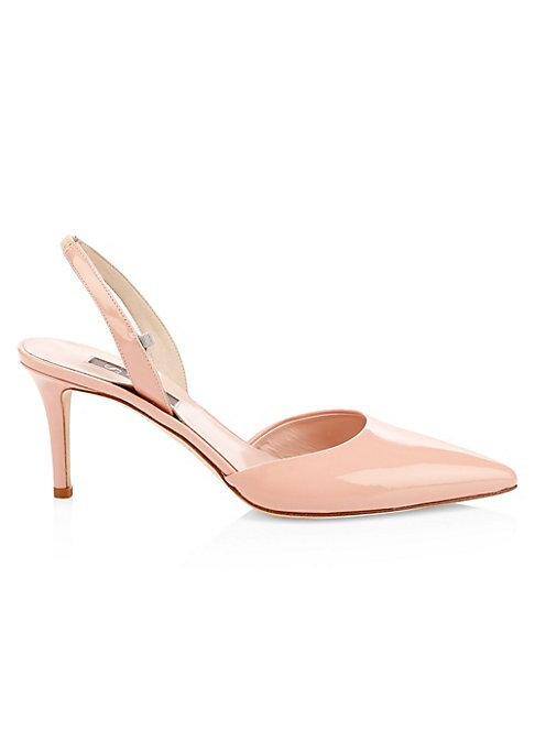 """Image of Elegant slingbacks finished in glossy patent leather. Patent leather upper. Point toe. Elasticized slingback strap. Leather lining and sole. Spot clean. Made in Italy. SIZE. Self-covered heel, 2.75"""" (70mm)."""