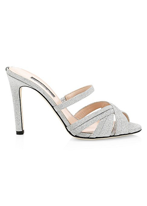 """Image of Delicate wrapped open-toe mules with a glittering finish. Glitter textile upper. Open toe. Slip-on style. Leather lining and sole. Spot clean. Made in Italy. SIZE. Self-covered heel, 4"""" (100mm)."""