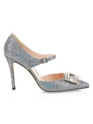 SJP BY SARAH JESSICA PARKER Trinity Embellished Buckle Pumps in Silver