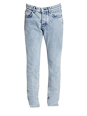 """Image of Acid wash jeans in the classic five-pocket style Five-pocket style Belt loops Button fly with button closure Cotton Dry clean Imported SIZE & FIT About 10"""" rise About 32"""" inseam About 14"""" leg opening. Men Adv Contemp - Men's Emerging Designer. AMI. Color:"""
