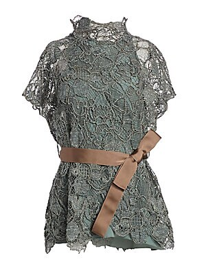 Image of A bold floral pattern with a subtle metallic sheen defines the embroidered element of this blouse, while a simple sleeveless lining offers full coverage. Adding to the romanticism of the garment is a contrast grosgrain ribbon belt to cinch the waist which