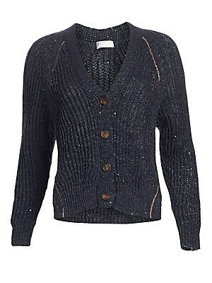 Image of An array of shimmering sequins are nestled within the body of this cardigan creating an understated elegance. Knit in a traditional chunky ribbed silhouette, this piece blends an oversized shape with feminine styling. V-neck Long sleeves Button front Rib-