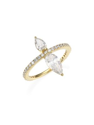 18 K Goldplated Silver & Pear Cut Cubic Zirconia Pavé Ring by Adriana Orsini