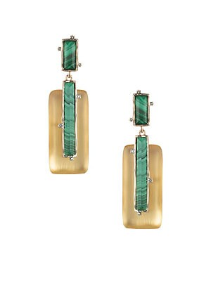 Image of Art Deco-inspired linear goldtone drop earrings with luminous lucite frame. Malachite Lucite Swarovski crystals Goldtone Clip-on Imported SIZE 0.8W x 2.8L. Fashion Jewelry - Alexis Bittar. Alexis Bittar. Color: Gold.