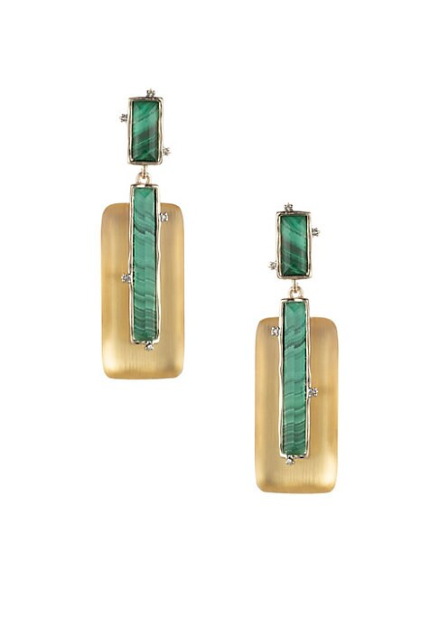 """Image of Art Deco-inspired linear goldtone drop earrings with luminous lucite frame. Malachite. Lucite. Swarovski crystals. Goldtone. Clip-on. Imported. SIZE.0.8""""W x 2.8""""L."""