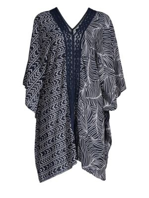 MIRACLESUIT SWIM Lush Life Print Caftan in Midnight Blue