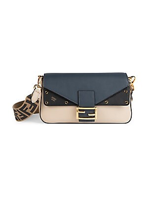 c4a7a7f2 Fendi - FF Mixed Leather Baguette Shoulder Bag