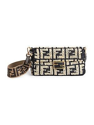Fendi - FF Raffia Baguette Shoulder Bag - saks.com 1ecd201123eae