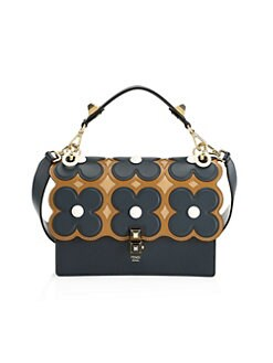 Fendi. FF Floral Kan I Leather Top Handle Shoulder Bag f8a4a9436b
