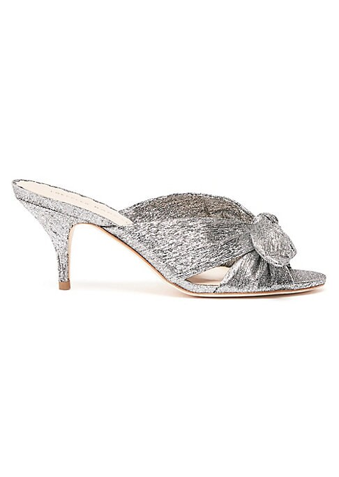 """Image of Metallic leather open toe slides show their girly side with bow detail and kitten heels. Leather upper. Open toe. Slip-on style. Leather sole. Imported. SIZE. Self-covered leatherkitten heel, 2.75"""" (70mm)."""