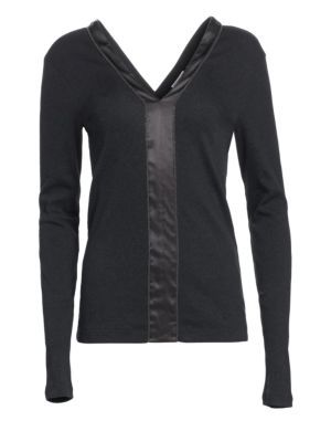 Long-Sleeve Ribbed Cotton Satin Strip Top in Anthracite