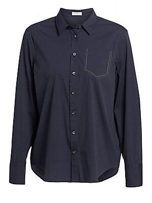 """Image of A classic everyday-wear button-up modernized with exposed seams and a stylish patch pocket. Point collar Long sleeves Button cuffs Button front Chest patch pocket Cotton/polyamide/elastane Dry clean Made in Italy SIZE & FIT About 25"""" from shoulder to hem"""