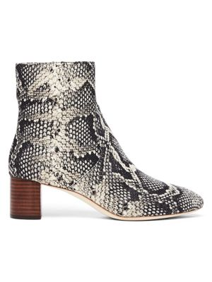 Gema Snake-Print Leather Block-Heel Booties in Multi