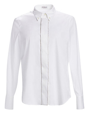 Image of A delicate metallic trim adds subtle glamour to this crisp blouse with a button-down collar. The garment is crafted from stretch cotton for a comfortable fit. Button-down point collar Long sleeves Buttoned barrel cuffs Concealed button front Shirttail hem