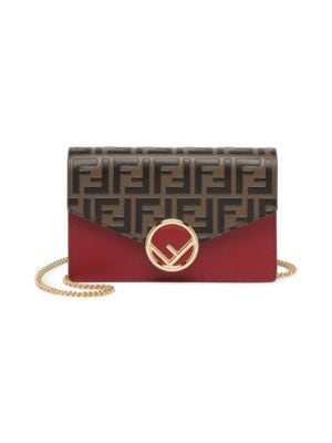Ff Leather Chain Wallet by Fendi