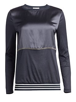 fcb2c1cebd2 Fabiana Filippi. Satin Stripe Long-Sleeve Shirt
