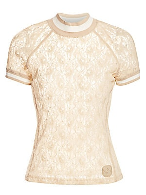 """Image of Blending a sportswear influence with a romantic feel, this lace tee is finished with athleisure stripe trim. Highneck Short raglan sleeves Pullover style Rib-knit trim Viscose/polyamide/elastane Dry clean Imported SIZE & FIT About 23"""" from shoulder to hem"""