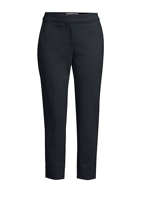 Image of Tailored for a slim fit, this pair of trousers remain comfortable thanks to its stretch jersey fabrication. Its versatile cropped length shows off your favorite footwear. Banded waist. Zip fly. Front slash pockets. Pressed pleats. Viscose/nylon/elastane.