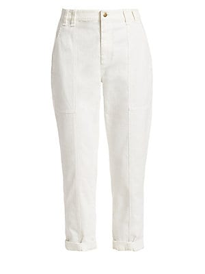 Image of Allover seam detailing lends these stretch cotton pants a workwear aesthetic. Doubled-up belt loops and roomy patch pockets contribute to the effect. Belt loops Zip fly with button closure Waist slash patch pockets Back patch pockets Lined Cotton/elastane