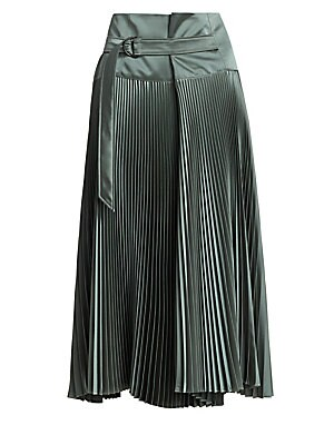 Image of A bohemian skirt with plissé pleats is reworked with a folded wide waistband. A matching fabric belt, with a simple D-ring buckle, accents the front while keeping the back sleek. Banded waist D-ring belt Polyester Dry clean Made in Italy SIZE & FIT A-line