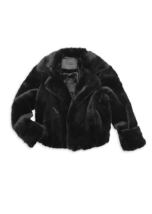 Image of Cuddly coat featuring notch lapels crafted in faux-fur. Notch lapels. Long sleeves. Concealed button front. Polyester. Fur type: Faux. Dry clean. Imported.