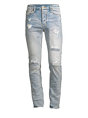Image of The Chitch jean is a contemporary style jean in a tapered leg, constructed in premium stretch denim. In a mid rise, it features branded hardware, five pockets, and Ksubi cross embroidery at the reverse. Five-pocket style Button fly Distressed detail Cotto