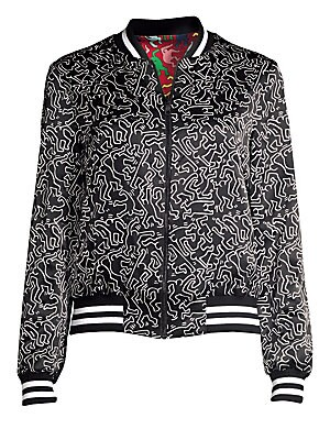 1eedabf12d8f Alice + Olivia - Keith Haring X Alice + Olivia Lonnie Graphic Reversible  Silk Bomber Jacket