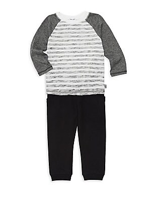 Image of Two-piece set of comfy cotton-blend top and pant set. Machine wash. Imported. TOP Crewneck Long raglan sleeves Pullover style Logo at hem Stitched trim Cotton/modal/polyester PANTS Elasticated waist Pullover style Elasticated hem Cotton/rayon. Children's
