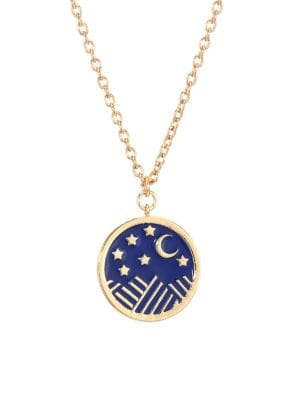 JULES SMITH Starry Night 14K Goldplated Coin Pendant Necklace in Blue