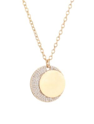 JULES SMITH 14K Goldplated Moon Crystal Coin Necklace