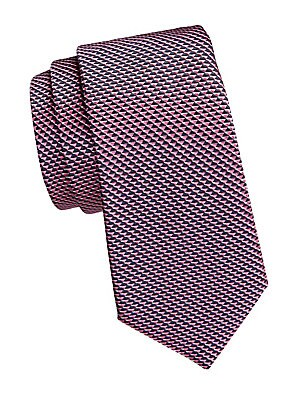 "Image of Subdued triangular print elevates this silk tie. Silk Dry clean Made in Italy SIZE Width, 3"". Men Luxury Coll - Armani Neckwear. Emporio Armani. Color: Pink."