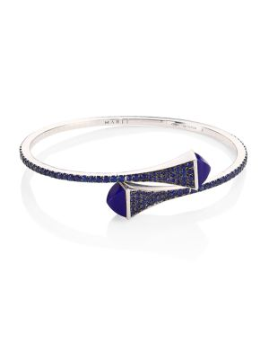 MARLI Cleo X Marli 18K White Gold & Sapphire Bangle Bracelet in Blue