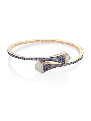 MARLI Cleo X Marli 18K Rose Gold & Sapphire Bangle Bracelet in Blue Rose Gold