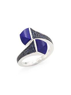 34083efc1cd875 Marli. Cleo x Marli 18K White Gold, Lapis Lazuli & Blue Sapphire Ring