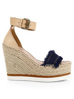 15e3a2dd2230 See by Chloé. Glyn Denim Wedge Espadrille Sandals
