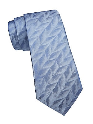"""Image of Jacquard design with a crushed velvet finish adorns tie. Silk Dry clean Made in Italy of imported fabric SIZE Width, about 3"""". Men Luxury Coll - Armani Neckwear. Emporio Armani. Color: Blue."""
