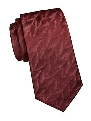 "Image of Opulent jacquard print elevates this tie. Silk Dry clean Made in Italy SIZE Width, 3"". Men Luxury Coll - Armani Neckwear. Emporio Armani. Color: Maroon."