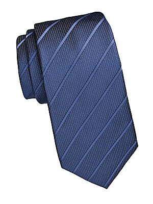 "Image of Speckled tonal stripe tie is crafted from luxe silk. Silk Dry clean Made in Italy SIZE Width, 3"". Men Luxury Coll - Armani Neckwear. Emporio Armani. Color: Blue."