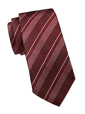 """Image of Tricolor stripes lend a dimensional effect to this tie. Lined Silk/cotton Dry clean Made in Italy of imported fabric SIZE Width, about 3"""". Men Luxury Coll - Armani Neckwear. Emporio Armani. Color: Red."""